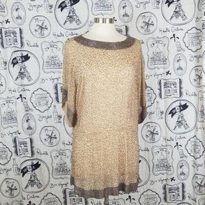 Embellished Beads Tunic Silver Brown PARKER Sheer